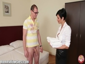 MommyBB Busty euro MILF Maid is sucking the hotel client free