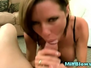 Hot milf housewife in lingerie pov sucking