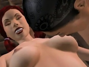 Sexy 3D redhead babe gets tied up and fucked hard