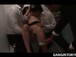 Jap hot girl taken by force in a Tokyo bathroom and gangbang