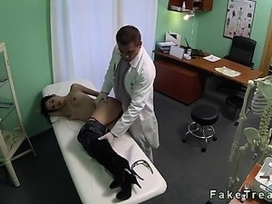 Small tits brunette came to doctor for breasts implants and soon she gets...