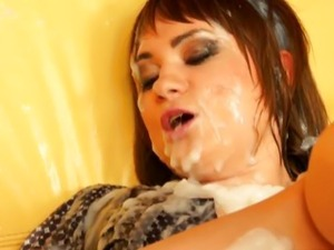Bukkake slut drenched in cum from gloryhole