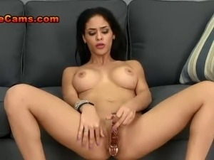 Slim Sexy Brunette Girl Rubs Her Clit And Stips Naked To Get Read For Her...