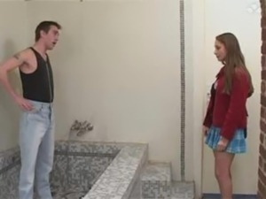 Young Adorable Teen Beauty Bathroom sex with Older Plumber at Home free