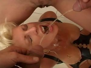 The mature slut has fun with urine.
