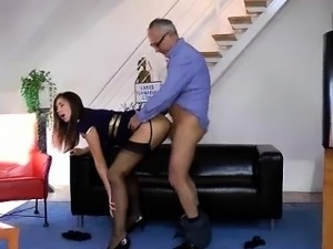 Mature British lady sucks cock in threesome