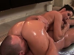 Sexy brunette hoe gives great massage part6