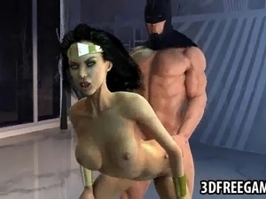 Boner inducing 3D cartoon Wonder Woman getting her soaking wet pussy fucked...