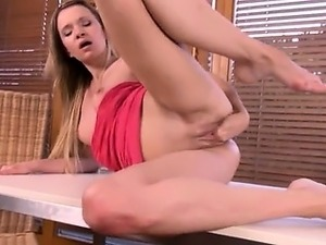 Blonde woman fisting herself and gapping