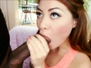 Asian beauty Kim Blossom pussy stretched by huge black dick