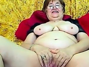 Fat Grandmother With Glasses Masturbates