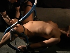 Bondage brunette has intense orgasm in bdsm