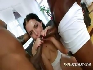 Two monster black cock in her asshole