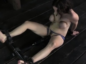 Tied up subs big tits caned by dominator