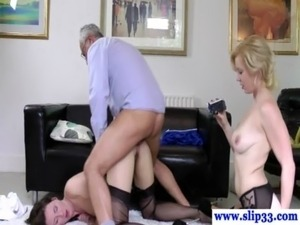 Teen amateur in trio with old man getting fucked free
