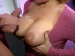 Big tit milf with glasses gives blowjob to lucky dude
