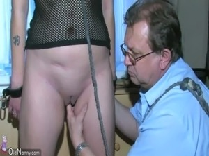 OldNanny Sexy young Girl playing with old man and his old chubby mature free