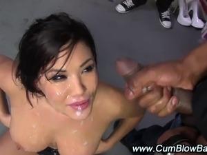Asian interracial blowjob facial bukkake with black guys