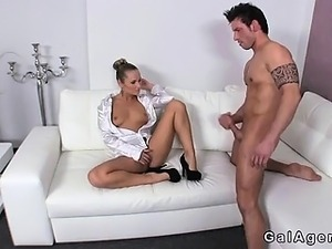 Guy masturbates in front of female agent in her office