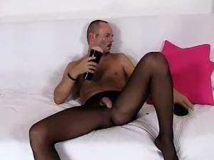 Perverted guy loves to show off in his nylon tights