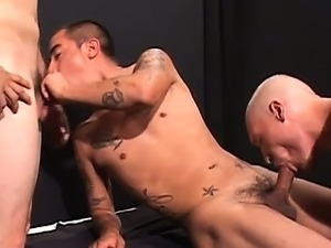 Like a scene from prison these three hot straight guys with