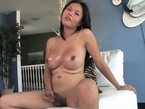 Exotic big titted amateur tranny solo