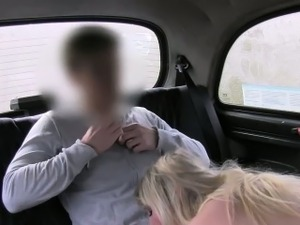 Natural big tits blonde banged in fake taxi in public