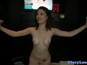 Beautiful Daisy Summers fucks a couple of glory hole cocks