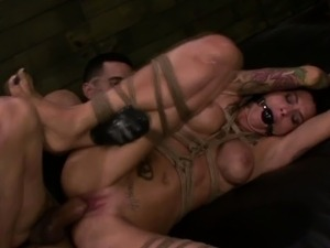 FetishNetwork Alby Rydes rope bdsm slave gets facial