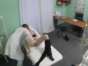 Blonde patient sucks cock and gets licked by her doc