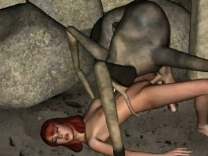 Hot 3D redhead babe gets fucked by an alien spider