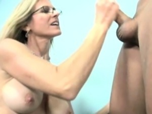 Spex cougar milf jerking his dick