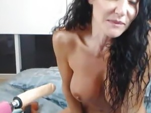 Busty Latina Dildo Fuck Machine
