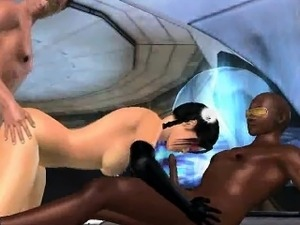 Sexy 3D cartoon brunette babe getting double teamed