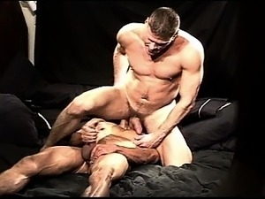 CBT session between two muscular studs include cock sucking, rimming, jerking...