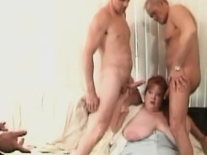 Huge Hornyu BBW Redhead Gets Triple Teamed