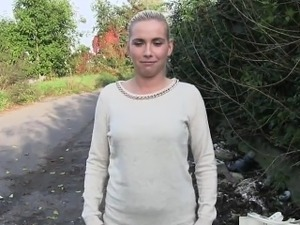 Sexy Czech blonde amateur bangs outdoor pov