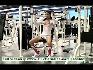 Trinity cute brunette woman flashing tits and pussy at the gym