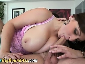 Busty babe fingered and blowjob