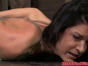 Hogtied hot milf punishing on floor in this hd video