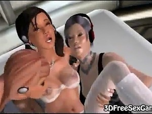 3d brunette gets fucked by chick with strapon in a spaceship