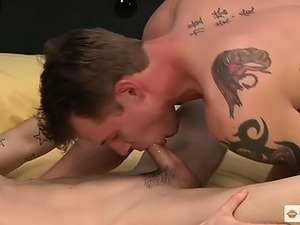 Tyler fucks Roberts deep untill they both blow their loads.