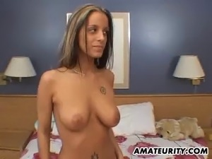 A lovely blonde amateur girlfriend with hot big tits gives a sloppt blowjob...