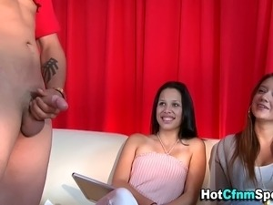 Femdom babes measure and judge cock