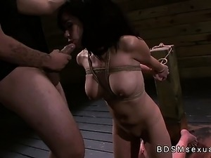 Tied up and bent over a post babe roughly fucked