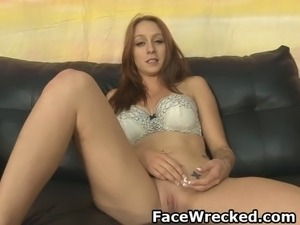 Brunette Amateur In Very Rough Face Fucking Threesome