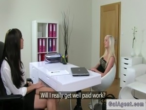 Female agent and assistant fucks blonde on casting free