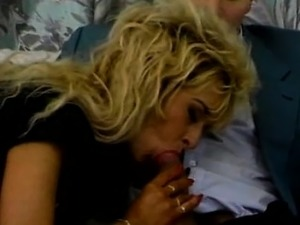 Retro blonde amateur sucking and ridding on cock