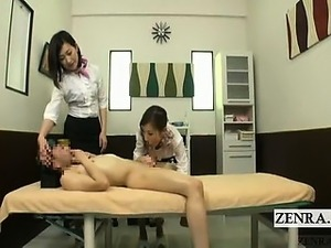 Subtitled shy Japanese CFNM testicle and oral massage