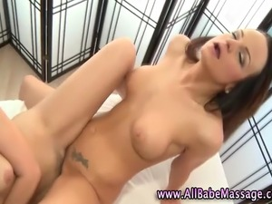 Lesbian fetish masseuse babe grinding pussy with her sexy client